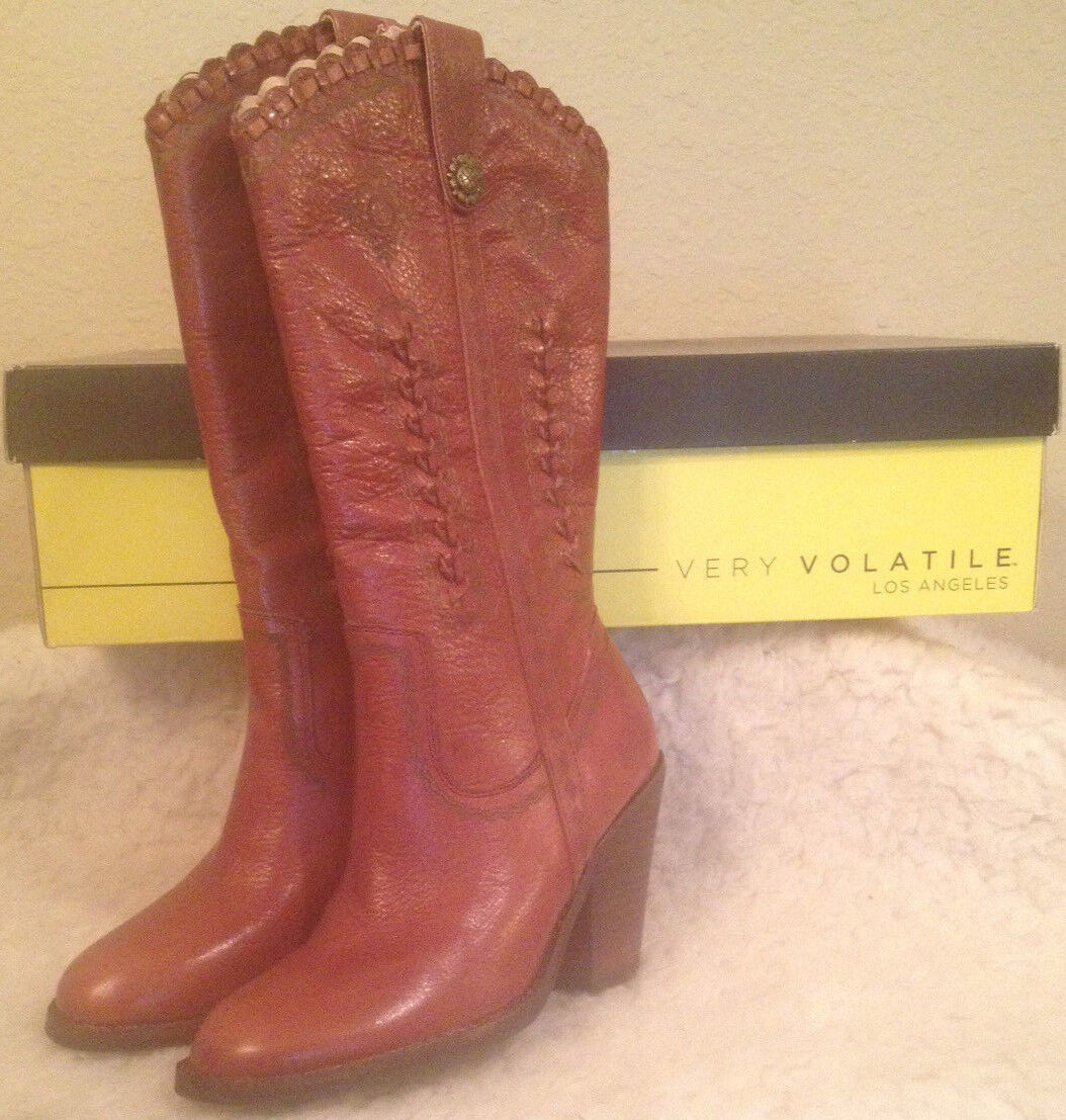 NIB VERY VOLATILE Rosewell Cognac Western LEATHER Boots Donna size 7 M
