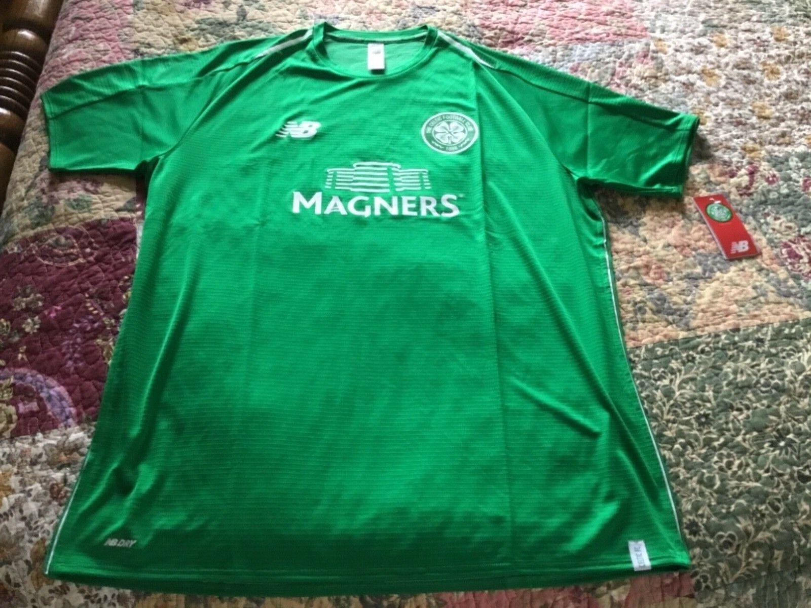 Lot of 2 Celtic F.C soccer jerseys,home training NWT,XL,By New Balance Scotland