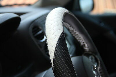 "14.75"" Racing Black & White Steering Wheel Cover Wrap PVC Leather 47011 Medium"