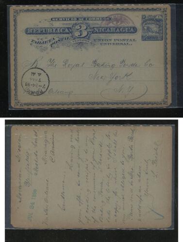 Nicaragua postal card to US 1896 KL0430
