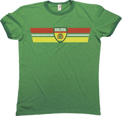 BOLIVIA Patriotic Retro Strip T-Shirt *Choice Of MENS LADIES KIDS BABY GROW*