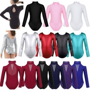Girl-Kid-Gymnastics-Ballet-Long-Sleeve-Leotards-Dance-Bodysuit-Dancewear-Costume