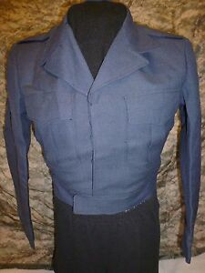 Vintage-1951-USAF-100-Wool-Blue-84-34-S-Serge-Dress-Ike-Jacket-Korean-War-Era