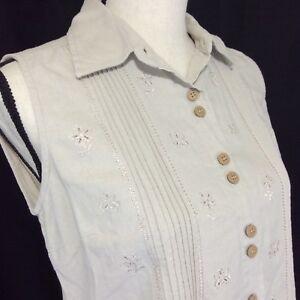 Erika-Womens-Shirt-Top-Size-Petite-Small-Tan-Linen-Blend-Sleeveless