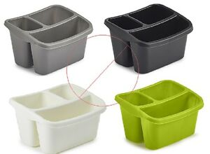 image is loading plastic sink side storage organiser 3 compartment cutlery - Kitchen Caddy