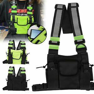 Waterproof Reflective Tactical Front Chest Rig Bag Pouch Outdoor Sport Vest Pack