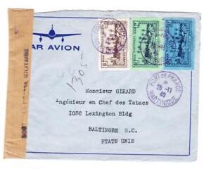 Martinique Sc#168,#166,#171-FORT DE FRANCE 26/11/40-WWII CENSOR TAPE-AIR