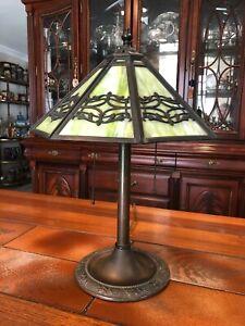 Antique-Bradley-amp-Hubbard-B-amp-H-Green-Slag-Glass-Lamp-Silhouette-Shade-20-034-Tall
