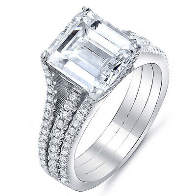 2 Carat Radiant Cut Simple Solitaire Engagement CZ Ring with Micro Pave Rounds