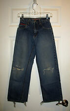 "BOYS PANTS BLUE QUIKSILVER JEANS FRAY KNEE HOLES YOUTH SIZE 8 REG 24"" inch WAIST"