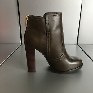 9e5b4f591e6ef8 Tory Burch dark gray brown leather platform ankle boots 5.5M 36 ...