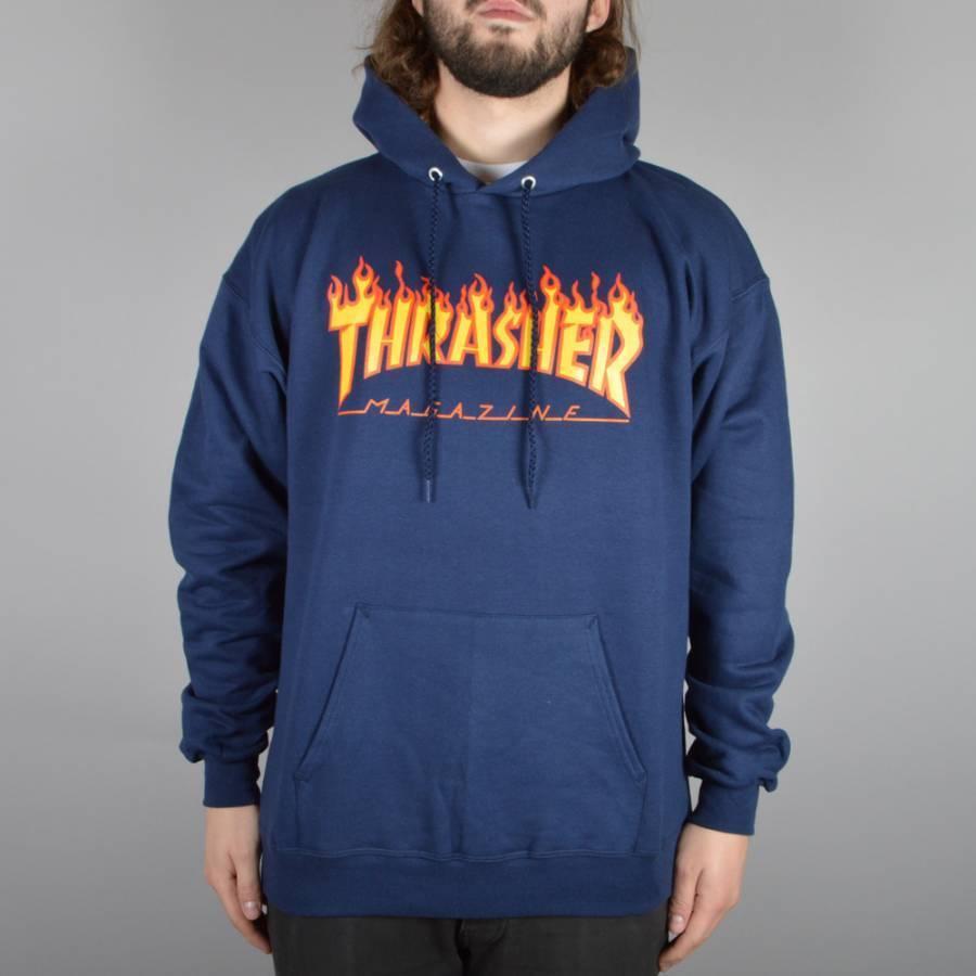 Thrasher Flames Hoodie - Navy