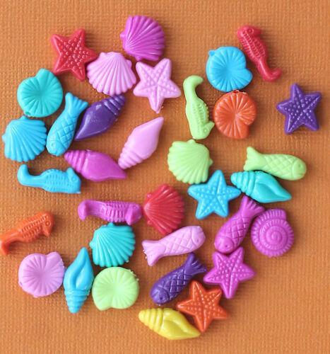 K229 25 Beach Beads Acrylic Assorted Bright and Fun