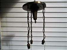 Antique Brass Ceiling Light Fixture with 3 Hanging Pull Chain Sockets