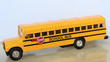 "Yellow School Bus Metal Diecast Pull Back Drives Action Doors Open 6"" Large Toy"