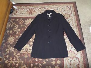 APOSTROPHE-WOMEN-039-S-BLACK-JACKET-SIZE-10-BUTTON-FRONT-DRY-CLEAN-ONLY