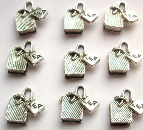 6 Teabag Tea Bag Charms Silver Tone Metal Alice in Wonderland 16mm