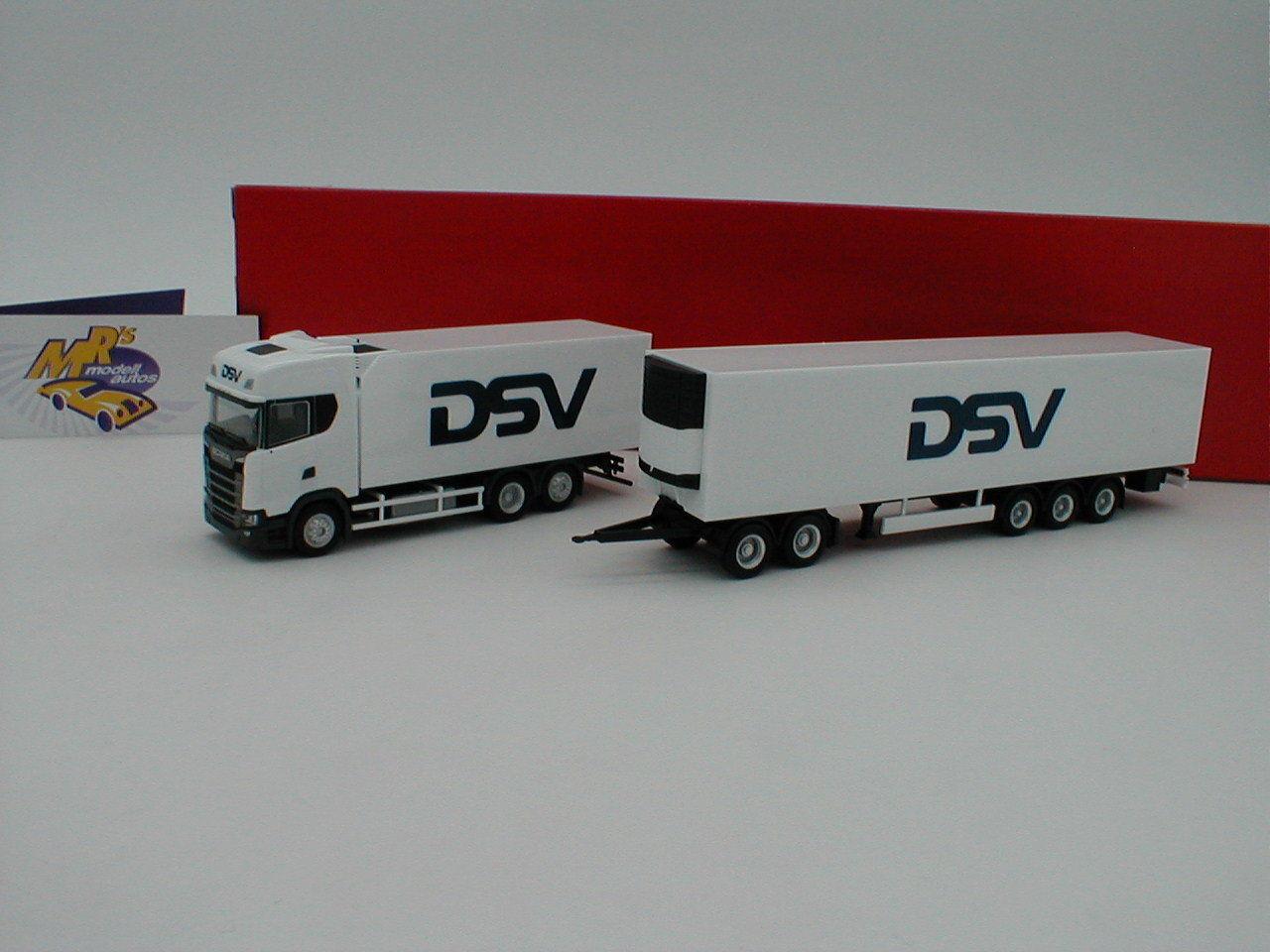 Herpa 306779 - Scania CS Hochdach Kühlkoffer-Eurocombi   DSV   (DK) 1 87 NEU