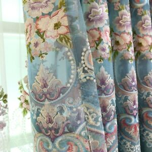 European-Embroidery-Curtains-Pelmets-Lace-Tulle-Voile-Window-Panel-Drapes-Luxury