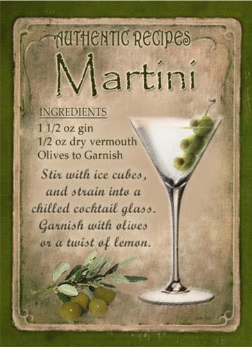 RETRO METAL PLAQUE MARTINI Cocktail sign//ad