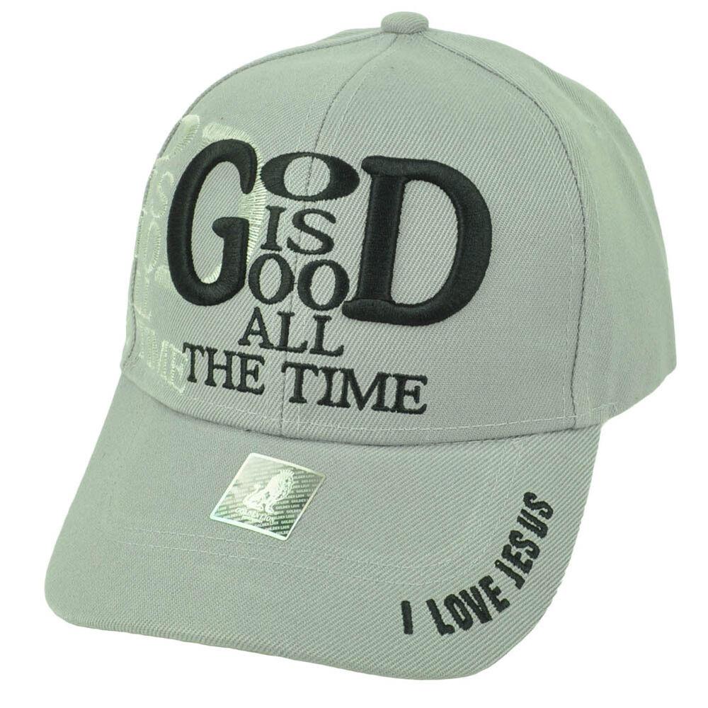 2019 Nouveau Style Dieu Est Good Tous Les Temps I Love Jésus Gris Casquette Chapeau Réglable Dessins Attrayants;