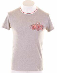 Dolce-amp-Gabbana-Damen-Graphic-T-Shirt-Top-Groesse-14-Large-grau-Baumwolle-cv06