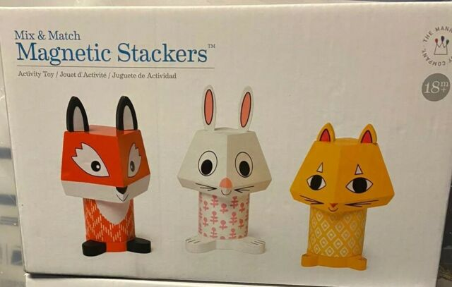 Manhattan Toy Mix & Match Fox, Bunny, Cat Magnetic Wooden Stacking Block Set 9pc