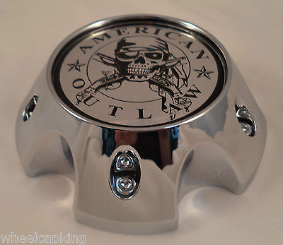 American Outlaw Chrome Wheel Center Caps Set of 4 # BC-786S NEW!