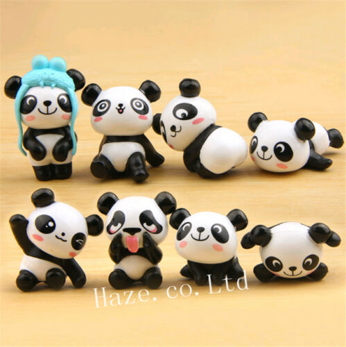 8pcs//Set Panda Cute Figure Toy Home Decoration Statue Xmas Gift lovely