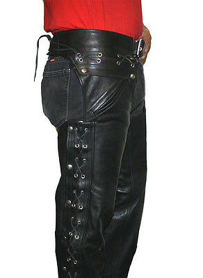 Men's Classic Motorcycle Unisex Leather Chaps  Cow hide Pants Style #966