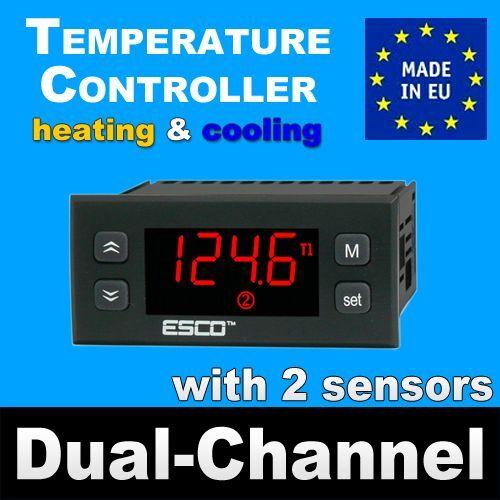 Diferencial de doble regulador de temperatura Doble Termostato 2 sensores de canal 2