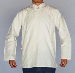 TRADITIONAL-TIBETAN-SHIRT-FOR-MEN-OR-WOMEN-COTTON-WHITE