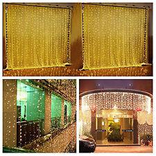 9.8ftx9.8ft 304 LED Christmas xmas String Fairy Wedding Curtain Light warm white