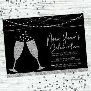 NEW-YEARS-EVE-INVITATIONS-INVITE-PARTY-2018-BLACK-SILVER-GLITTER-PERSONALISED