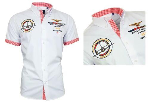 BINDER de LUXE Hemd Polo Shirt Kurzarm Stick Button Down Kragen 82610 weiß