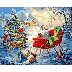 malen nach zahlen weihnachten geschenke schlitten weihnachtsbaum 40x50 cm | ebay
