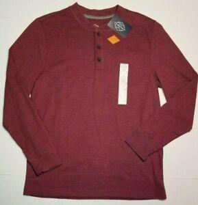 St-Johns-Bay-Men-039-s-Henley-Wine-Heather-Long-Sleeve-SMALL-MEDIUM-Shirt-NWT