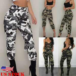limited guantity new style sports shoes Women's Camo Trousers Casual Military Army Joggers Cargo Long ...