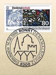 BRD-1986-Denkmalschutz-Nummer-1291-mit-dem-Bonner-Ersttagssonderstempel-1A