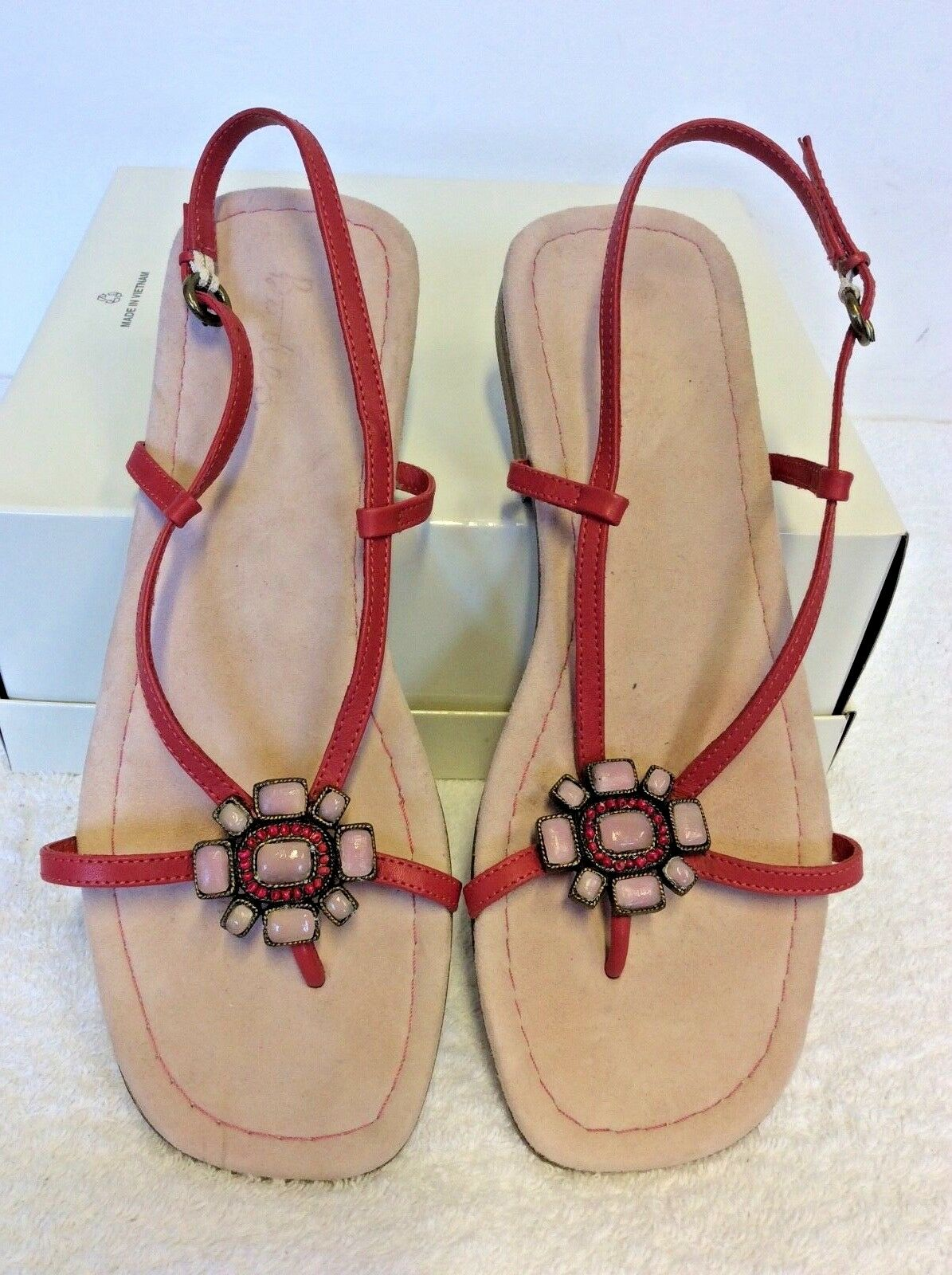 BODEN Rose Corail Tout Cuir Toe Post Sandales Taille UK 7 40