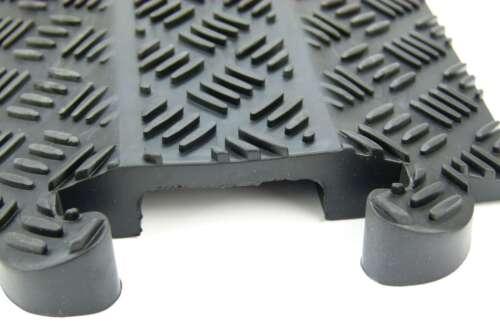 2 x 1 Kanal Kabelbrücke schwarz Überfahrrampe Kabelkanal Kabelschutz Gummirampe