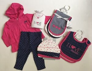 Carters Baby Girl Pink Outfit Bibs Hats Burp Cloths Size 3 Months