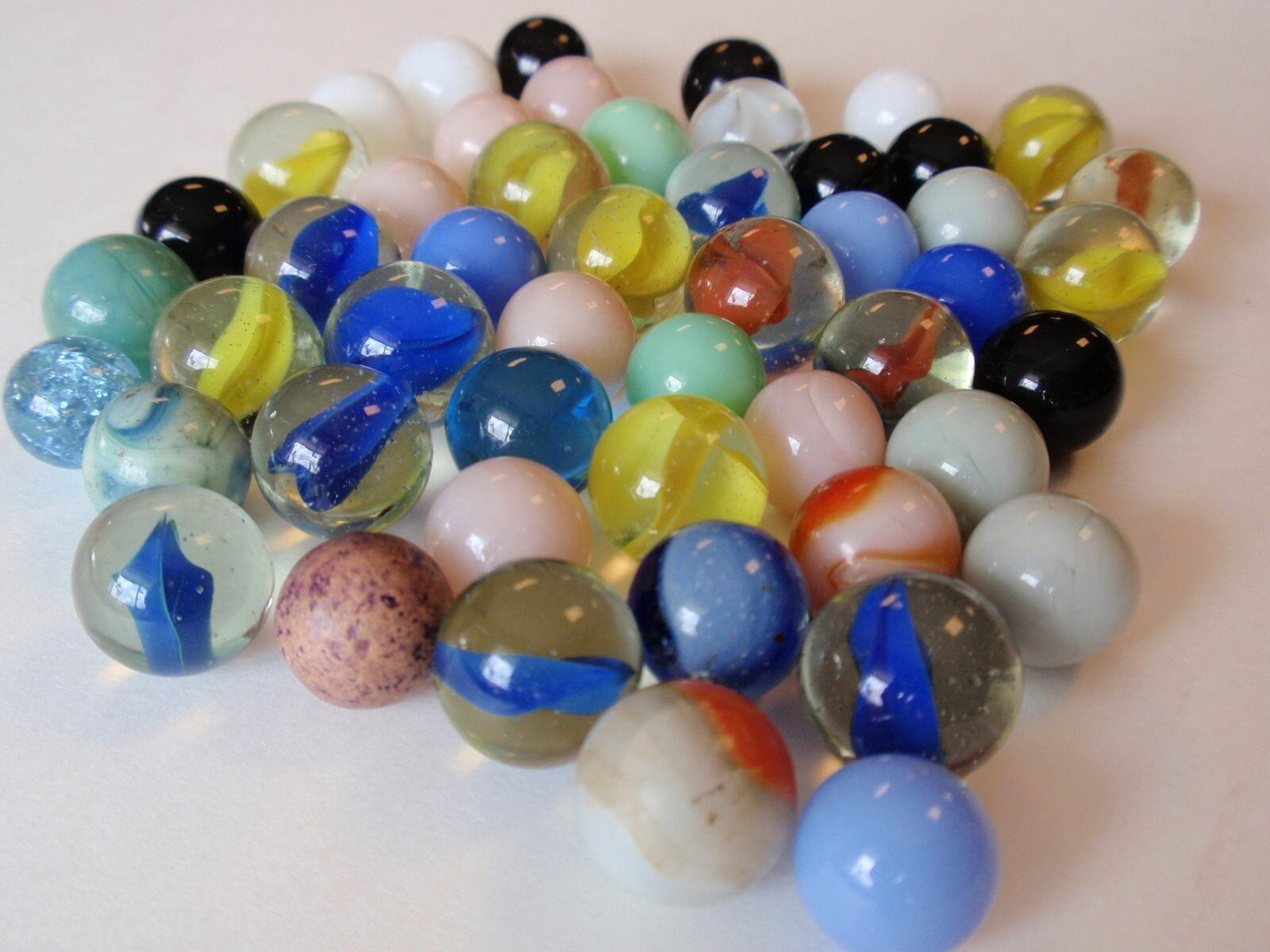 disfrutando de sus compras Grupo Grupo Grupo Vintage Lote 50 Piedra de Cristal MultiColor Jugando Canicas Remolino opaca azul  punto de venta barato