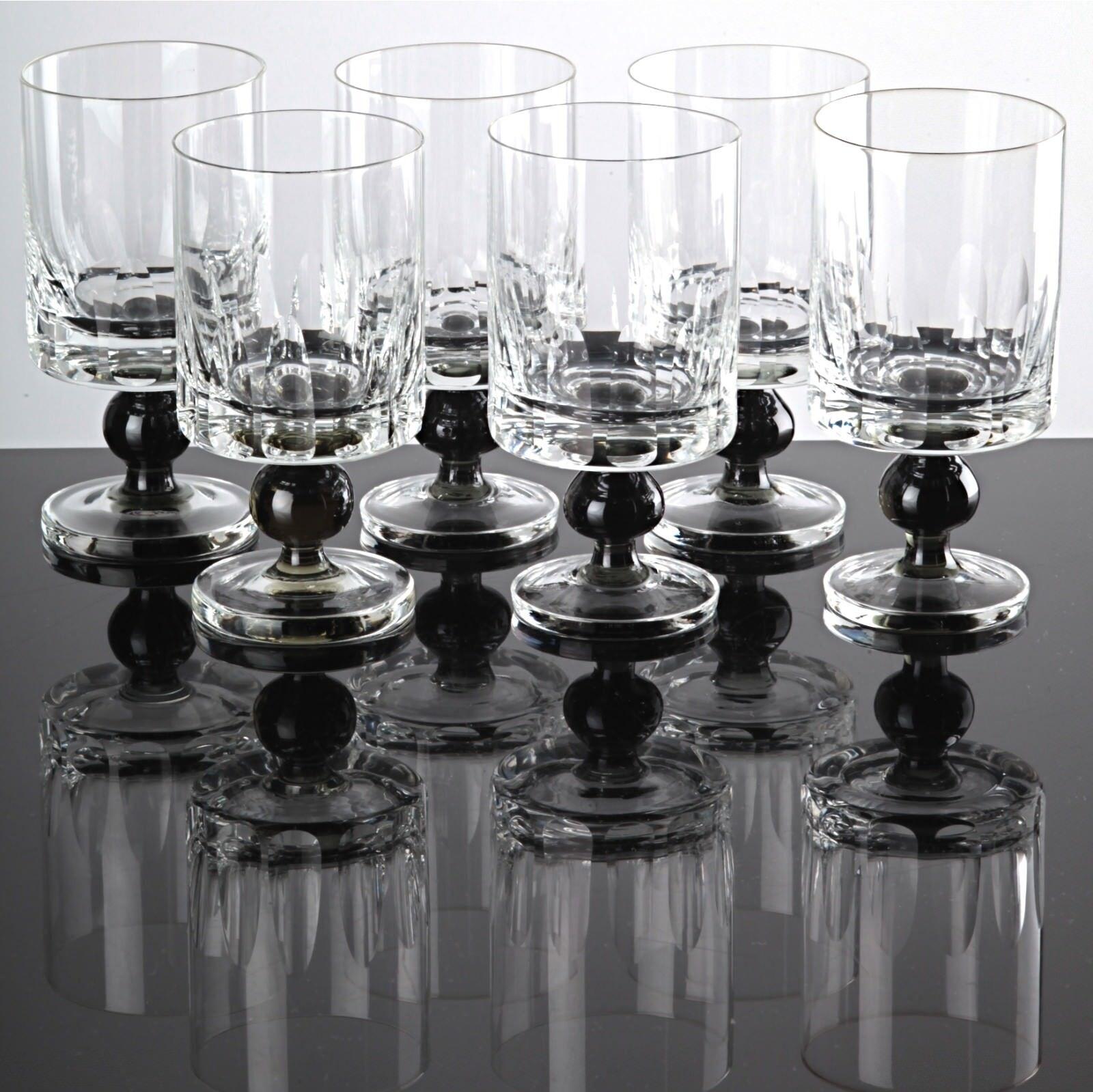 6 Weingläser Gläser Friedrich Kristall Glas Stiel grün Kugel 60er 70er Jahre