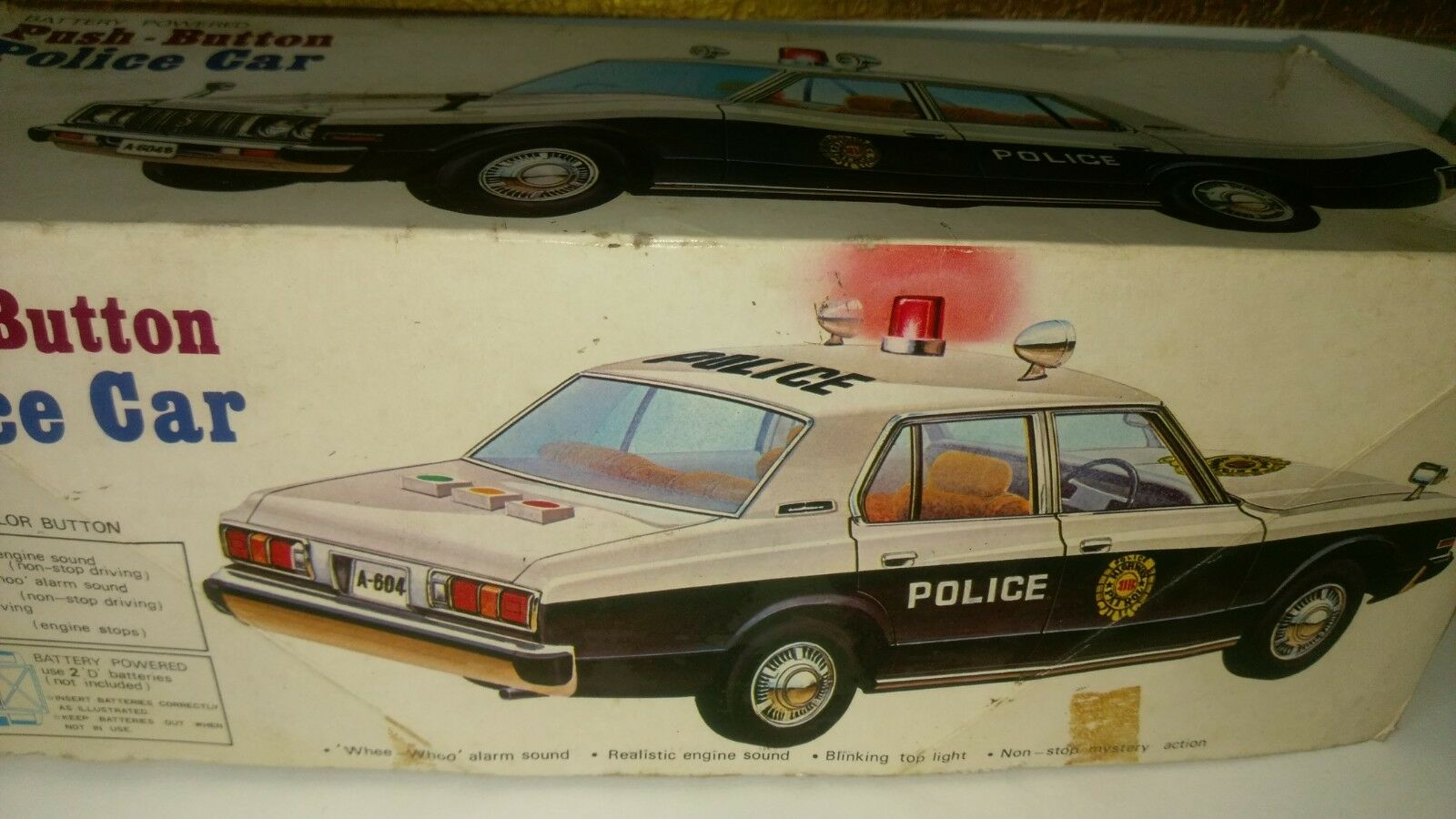 Vintage Antique Antique Antique Rare Old Collectible Police toy car with box 52454b