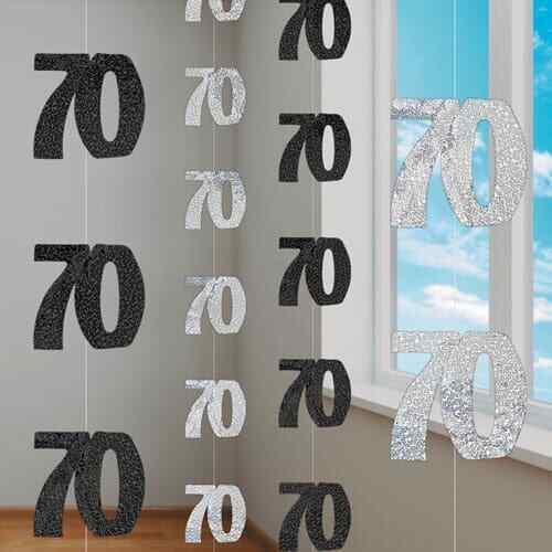 Noir 70 ans pendaison décoration Glitz 70th Anniversaire