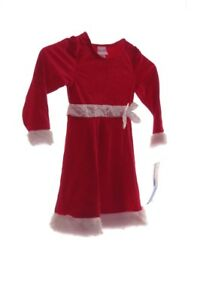 Girls-Toddler-Red-White-Fur-SANTA-Soft-Velvet-Holiday-Christmas-Dress-2T-3T-NEW