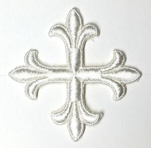 Vintage-Frances-Cruz-3-034-Bordado-con-Plancha-Blanco-Emblema-Parche-2PC