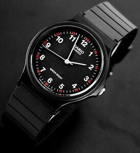 Casio-Men-039-s-MQ-24-1B-Analog-Watch-Black-and-Red-Classic-NEW