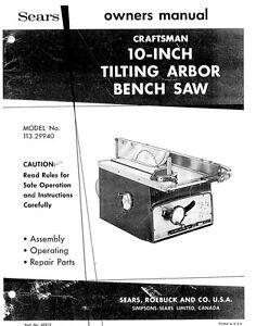 Craftsman 113 29940 10 Quot Tilting Arbor Bench Saw